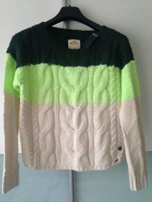 Hollister oversize Winterzopf Pullover XS S Neu creme grün NP 49 Euro