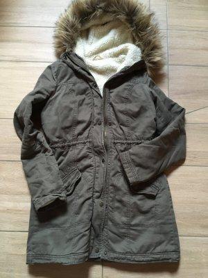 Hollister Parka Mantel Winterjacke Größe M khaki grau