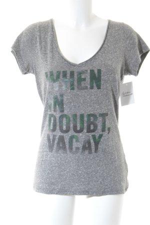 Hollister Print-Shirt grau-waldgrün Schriftzug gedruckt Casual-Look