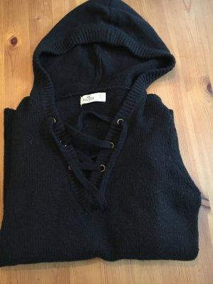 Hollister Pulli hoodie schnürung s schwarz