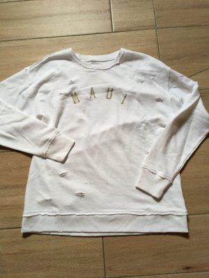 Hollister Pulli Sweatshirt Größe M weiß MAUI destroyed