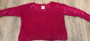 Hollister Pull en crochet rouge framboise