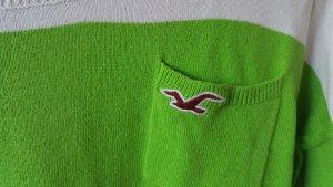 Hollister Pullover M weiß/grün gestreift