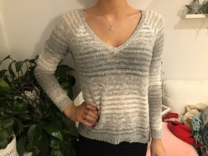 Hollister Coarse Knitted Sweater silver-colored-white