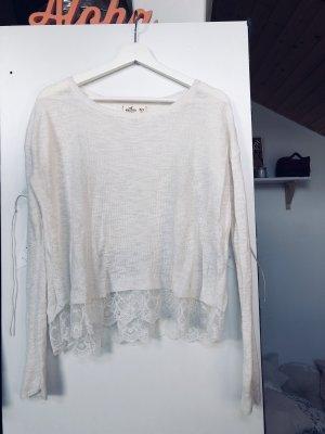 Hollister Pullover weiß spitze M
