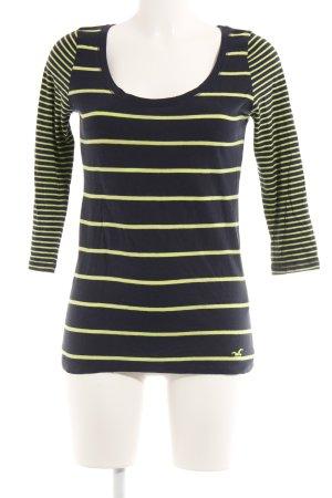 Hollister Stripe Shirt black-meadow green striped pattern casual look