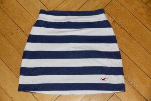 Hollister Rock aus Sweatshirtstoff, blau weiß Streifen Gr. XS Minirock