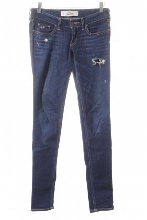 Hollister Röhrenjeans blau Destroy-Optik
