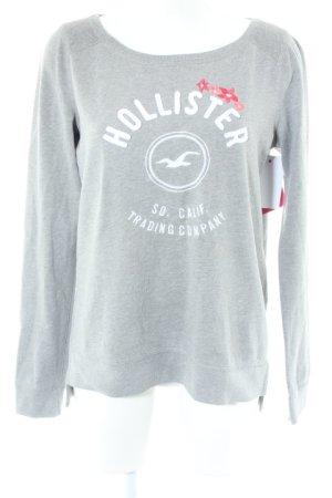 Hollister Rundhalspullover grau Motivdruck Casual-Look