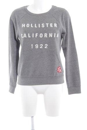 Hollister Rundhalspullover grau-weiß Casual-Look