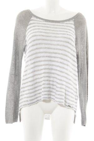 Hollister Jersey de cuello redondo gris claro-blanco estampado a rayas