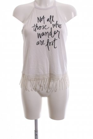 Hollister Off-The-Shoulder Top white printed lettering casual look