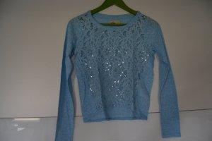 Hollister Shirt/Longsleeve hellblau/weiß Pailletten Gr. XS/S (34/36)