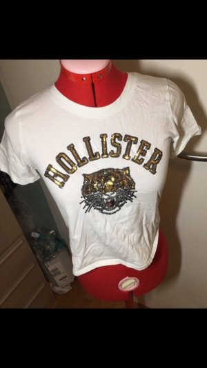 Hollister T-shirt court blanc-orange doré