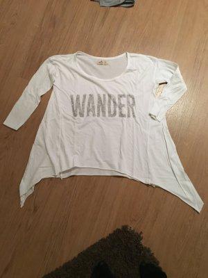 Hollister Shirt Wander Zipfel Seiten weis grau Aufdruck XS 34 Crop Oversize