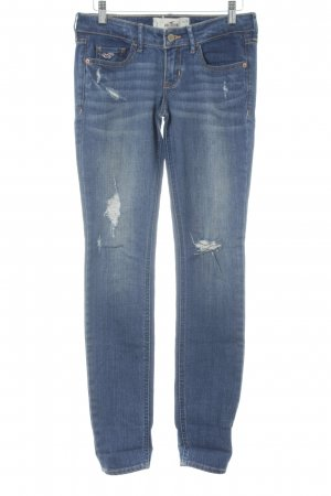 Hollister Skinny Jeans blau Farbverlauf Logo-Applikation aus Leder