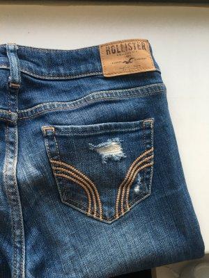 HOLLISTER Skinny Jeans Destroyed Denim mitteblau