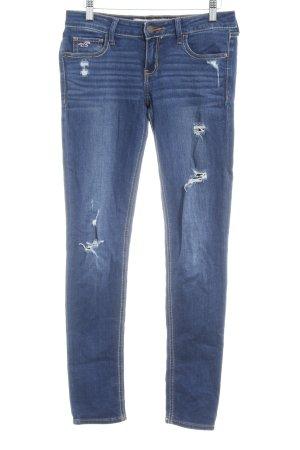 Hollister Skinny Jeans dunkelblau Destroy-Optik