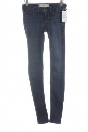Hollister Skinny Jeans dunkelblau-wollweiß Washed-Optik