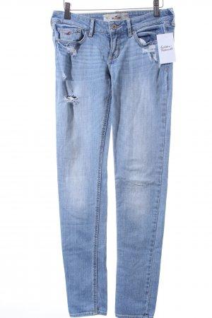 Hollister Skinny Jeans hellblau Destroy-Optik