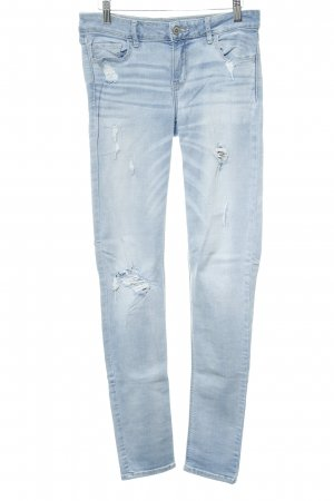 Hollister Skinny Jeans hellblau Destroy-Optik