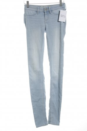 Hollister Skinny Jeans hellblau-wollweiß Washed-Optik