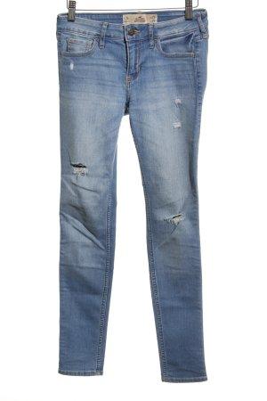 Hollister Skinny Jeans kornblumenblau Destroy-Optik