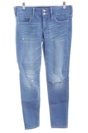 Hollister Skinny Jeans stahlblau Destroy-Optik