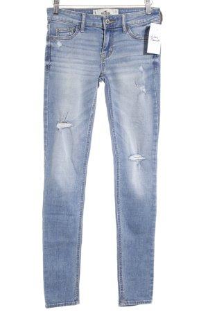 Hollister Skinny Jeans stahlblau-hellblau Used-Optik