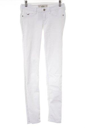 Hollister Skinny Jeans weiß-beige Webmuster Casual-Look