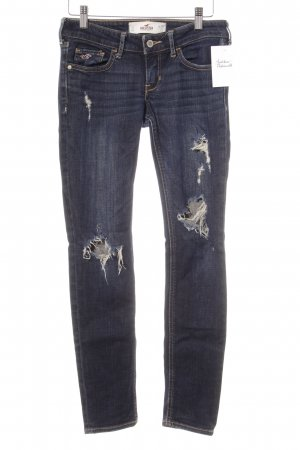 Hollister Slim Jeans dunkelblau Destroy-Optik
