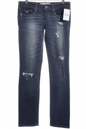 Hollister Slim Jeans dunkelblau-wollweiß Destroy-Optik