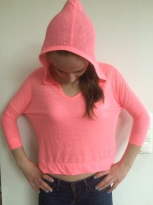 Hollister Hooded Shirt pink cotton