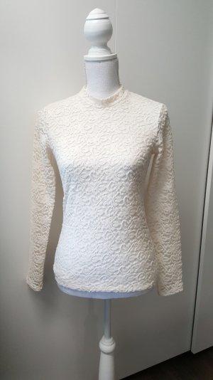 Hollister Spitzenshirt S langarm beige/creme