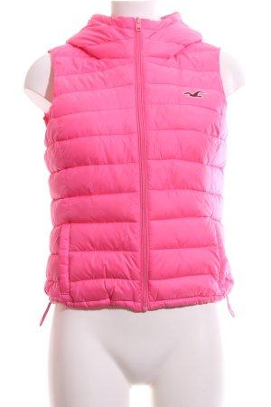Hollister Gewatteerd vest roze quilten patroon casual uitstraling