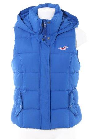Hollister Gewatteerd vest blauw quilten patroon casual uitstraling