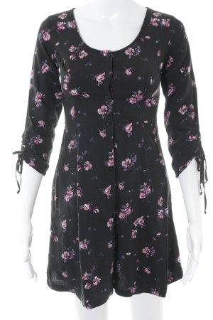 Hollister Stretchkleid schwarz-pink Blumenmuster bezogene Knöpfe