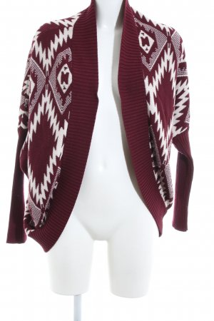 Hollister Strick Cardigan rot-weiß grafisches Muster Business-Look