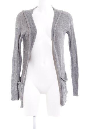 Hollister Strick Cardigan grau-weiß Motivdruck Casual-Look