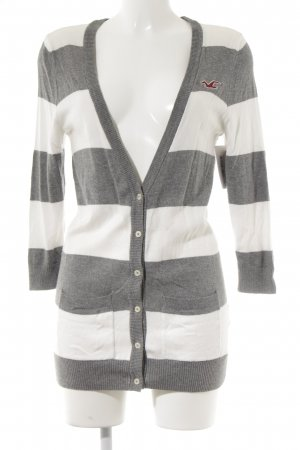 Hollister Strick Cardigan hellgrau-weiß Streifenmuster Casual-Look