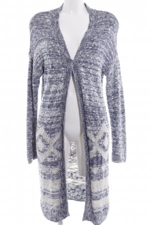 Hollister Strick Cardigan wollweiß-stahlblau grafisches Muster Casual-Look
