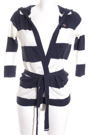 Hollister Strickjacke wollweiß-dunkelblau Streifenmuster Marine-Look