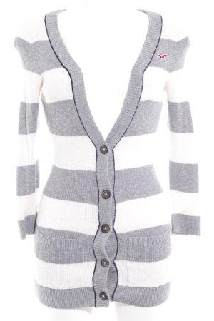 Hollister Strickjacke wollweiß-grau Streifenmuster Casual-Look