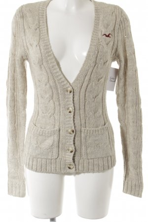 Hollister Strickjacke wollweiß Zopfmuster Casual-Look