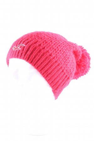 Hollister Knitted Hat neon red fluffy
