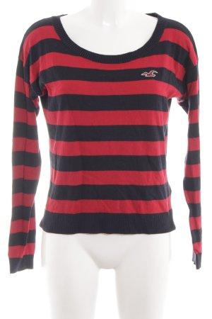 Hollister Strickpullover schwarz-rot Streifenmuster Casual-Look