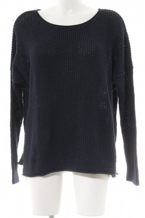 Hollister Strickpullover dunkelblau Webmuster Casual-Look