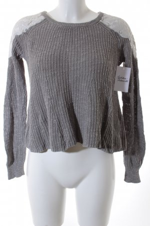 Hollister Strickpullover grau-weiß Casual-Look