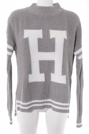 Hollister Knitted Sweater grey-white monogram pattern casual look