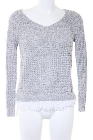 Hollister Strickpullover hellgrau-weiß Casual-Look